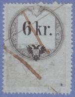 Austria Revenue Barefoot #62a Used 1860 6kr Bluish Paper Type 1 Broken Numeral Cv $12 - Fiscaux