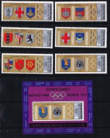 1969  Yémen Du Nord  YAR  Jeux Olympiques  Emblèmes Des Villes Hôtesses Jeux D'été Timbres + Bloc MiNr 832-8 * MH - Yemen