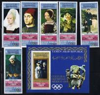 1969  Yémen Du Nord  YAR Olympiades Culturelles  Tableaux De La National Gallery Timbres + Bloc MiNr 1011-6 Bl 113 * MH - Yemen