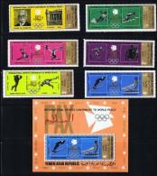 1971  Les Sports Contribuent à La Paix Mondiale 6 Timbres + Bloc MiNr 1295-1300 Bl 153A * MH - Yemen