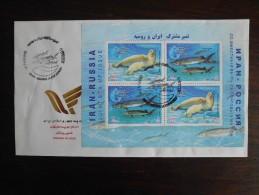 2003 - FDC Gemeenschappelijke uitgifte Rusland - joint issue Russia M/S - Caspian Seal + Beluga