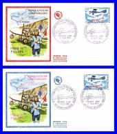 1565 (Yvert) Sur 2 FDC (GF-PJ) Paris Saint-Nazaire - 50ème Anniversaire De La Première Liaison Postale Par Avion - 1968 - FDC
