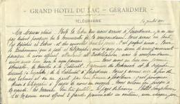 1899 - GERARDMER (88) - GRAND HÔTEL DU LAC - Bon Texte Sur La Région - Historical Documents