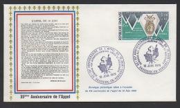 DF / GUERRE 1939-45 / 35e ANNIV. DE L' APPEL / 26 VASSIEUX EN VERCORS / HOMMAGE AUX FRANÇAIS LIBRE ET .../ TP 1797 - Militaria