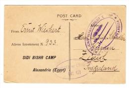 Deutsche Kriegsgefangenenpost 1917 Sidi Bischr Camp Alexandria Egypt Nach Zürich Mit Zensur St. - Égypte