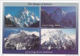 480-Postcard, Mountains, K-2, Gasher Brum, Broad Peak, Nanga Parbat, Pakistan ** - Pakistán
