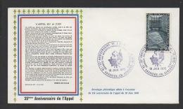 DF / GUERRE 1939-45 / 35e ANNIV. DE L' APPEL / 26 VASSIEUX EN VERCORS / HOMMAGE AUX FRANÇAIS LIBRE ET .../ TP 1381 - Militaria