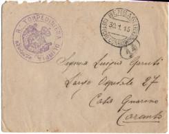 Italia 1915 Posta Marittima - Lettera Da Bengasi A Taranto 30-1-15 Con Bollo Torpediniera Olimpia - PP0028 - Marcofilía