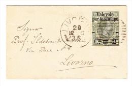 Italien 2 C. Aufdruckausgabe Packetpostmarken Auf Kleinem Ortsbrief Livorno 29.12.1890 - 1878-00 Humbert I.