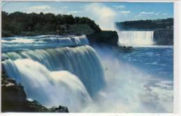NIAGARA FALLS, Ontario - American Falls At Prospect Point And Horseshoe Falls In Distance, PU 1968 - Niagara Falls