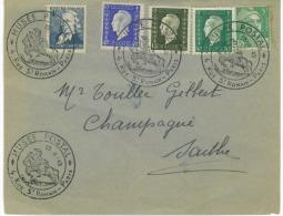Lettre  Oblit Musée Postal  Rue St Romain Paris 1949  Avec  Timbres N: Yvert  619 Claude Chape Marianne Dulac N: 695 690 - Marcophilie (Lettres)