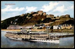 ALTE POSTKARTE EHRENBREITSTEIN MIT DAMPFER Koblenz Steam Ship Bateau à Vapeur Steamer Steamship Cpa Postcard AK - Dampfer