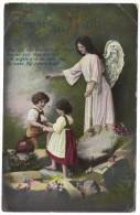 ´Trust In Him´ - Beautiful Angel Guarding Children - Colour Postcard 1913 - Angels