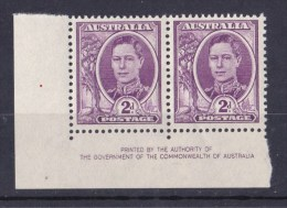 Australia 1941 King George VI 2d Mauve Imprint Pair MNH - Crease, See Notes - 1937-52 George VI