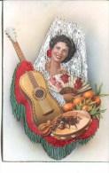 SPANISH SILK POSTCARD - WOMAN And GUITAR - Postcards