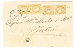 Lettre Sans Contenu 7.11.1871 Salonique Turquie Pour Intra Italie Affr. 2 Paires Verticales 15Cts. - Lettres & Documents
