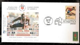 ATLANTA 1996 BUSTA UFFICIALE CIO OFFICIEL IOC COVER ATLETICA LEGGERA 110m BURDLES MEN AFFRANCATURA USA - Atletica