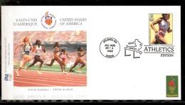 ATLANTA 1996 BUSTA UFFICIALE CIO OFFICIEL IOC COVER ATLETICA LEGGERA 100m WOMEN  AFFRANCATURA USA - Atletica