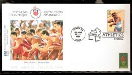 ATLANTA 1996 BUSTA UFFICIALE CIO OFFICIEL IOC COVER ATLETICA LEGGERA DECATHLON AFFRANCATURA USA - Atletica