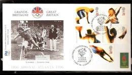 ATLANTA 1996 BUSTA UFFICIALE CIO OFFICIEL IOC COVER ATLETICA LEGGERA AFFRANCATURA GREAT BRITAIN - Atletica