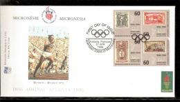 ATLANTA 1996 BUSTA UFFICIALE CIO OFFICIEL IOC COVER ATLETICA LEGGERA AFFRANCATURA MICRONESIA - Atletica