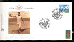 ATLANTA 1996 BUSTA UFFICIALE CIO OFFICIEL IOC COVER ATLETICA LEGGERA DISCOBOLO AFFRANCATURA SUISSE - Atletica