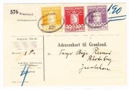 GRÖNLAND - R-Paketkarte 1 Krone, 70 Und 20 Ore Mit Attest - Colis Postaux