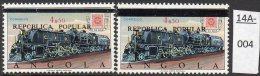** Angola Railway Train : 1980 Overprint In The TWO TYPES U/m (MNH) - Trains