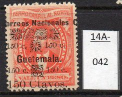 ** Guatemala 1886 150c/1p Railway Bond Type With 'Guetemala' For 'Guatemala' Error U/m (MNH) - Trenes