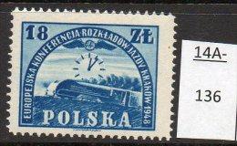 ** Poland 1948 Railway : Steam Train And Clock, Quite An Iconic Design From Poland U/m (MNH) - Trains