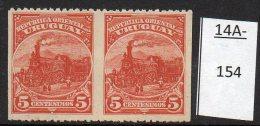 (*) Uruguay 1895 5c Railway - Train - Locomotive. Horizontal Pair, Imperf Vertically Mint No Gum. - Trains