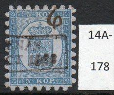 1860 5k In Greenish-blue 1.25 Mm 'teeth' Facit 3Kb Used, Very Fine Perfs - Usati