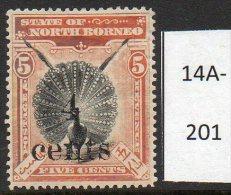 * North Borneo : 1904-05 4c/5c Bird ( Peacock ) Heavyish M/m