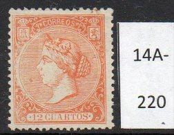 * Spain : 1866 12c Red-orange (SG 94) Mint No Gum. See Detailed Description.