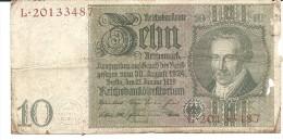 BILLET 10 Reichsmark  état Voir Les 2 Scans - [ 4] 1933-1945 : Third Reich