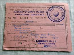 RARO BIGLIETTO V CORPO D ARMATA QUARTIER GENERALE   MILITARI 1 CLASSE  1942 - Ferrovie