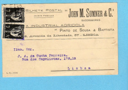 POSTAL COMERCIAL 1914 Publicidade Loja JOHN M SUMNER - A Industrial Agricola - Av.Liberdade LISBOA - Lisboa
