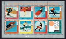 1970 Nord  Yémen YAR  Sapporo ´72  Ski, Patin, Bobsled  Feuillet 7 Timbres, 1 Vignette,MiNr 1440-6, * - Yemen