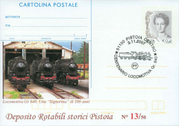 CARTOLINA POSTALE SOPRASTAMPA PRIVATA- LOCOMOTIVA GR 640 -ANNULLO   PISTOIA - 1946-.. République