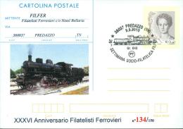 CARTOLINA POSTALE SOPRASTAMPA PRIVATA-  FILAT.FERROVIERI -ANNULLO   PREDAZZO - 1946-.. République