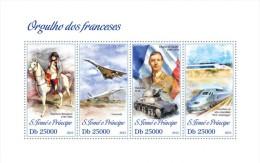 st13316a S.Tome Principe 2013 Pride of France s/s Napoleon Concorde C d Gaulle Flag Hotchkiss Trian TGV