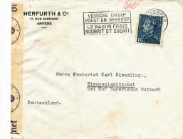 572/22 -  Lettre TP Poortman PERFORE H § C - Entete Herfurth § Co Anvers Vers Allemagne - Censure De Cologne - 1934-51