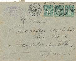 5 C / VERT TYPE SAGE SUR LETTRE   1897  (VOIR OBLITERATION ) - 1876-1898 Sage (Type II)