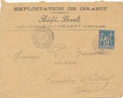 15 C / BLEU TYPE SAGE SUR LETTRE   1896 (VOIR OBLITERATION ) - 1876-1898 Sage (Type II)