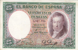 25 PTS  2ª REPUBLICA  1931 - [ 2] 1931-1936 : Republiek