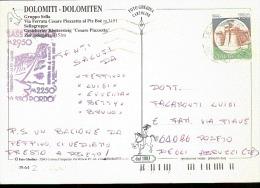 VIA FERRATA CESARE PIAZZETTA CARTOLINA CON ANNULLO SPECIALE PASSO PORDOI FRONTE RETRO 1995 - Inverno