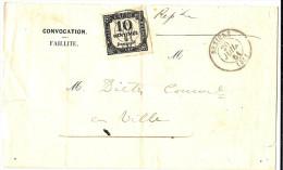 LBL26E - USAGE POSTAL DE TAXE CARREE 10c BEZIERS 20/7/1861 - Taxes