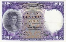 100 PTS  2ª REPUBLICA  1931 - [ 2] 1931-1936 : Repubblica