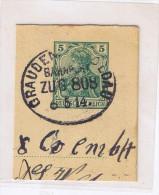 """E523 Briefstück Bahnpost """"GRAUDENZ-SOLDAU"""" 1914 - Allemagne"""