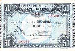 50 PTS  BILBAO  1937 - [ 3] 1936-1975 : Régence De Franco